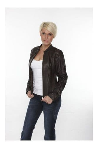 Ladies Leather Jackets In Brown:DQ